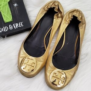 Tory Burch Gold Reva Flats